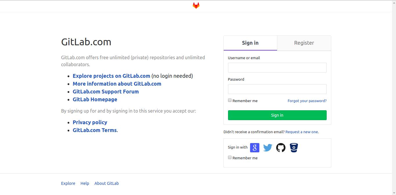 Gitlab signin page