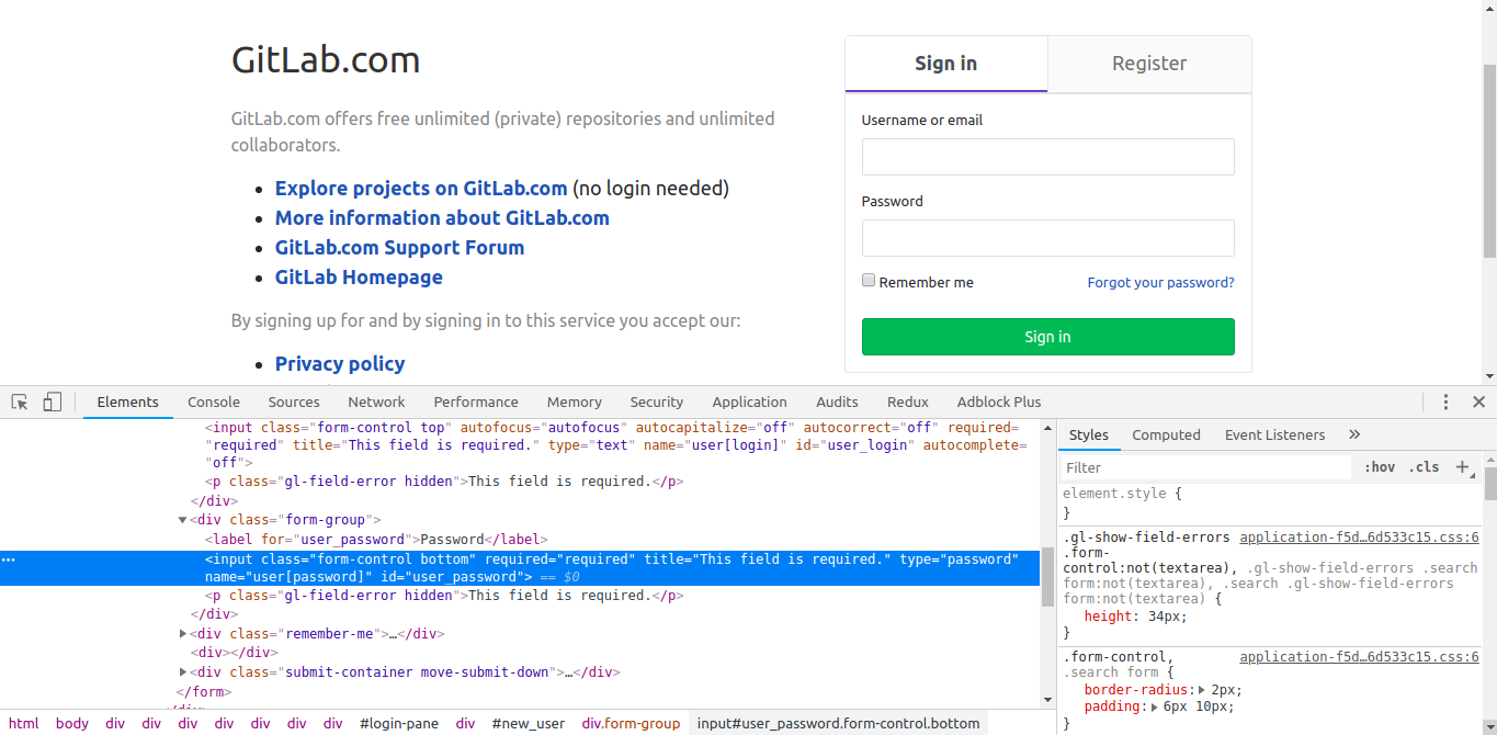 Gitlab signin page password field